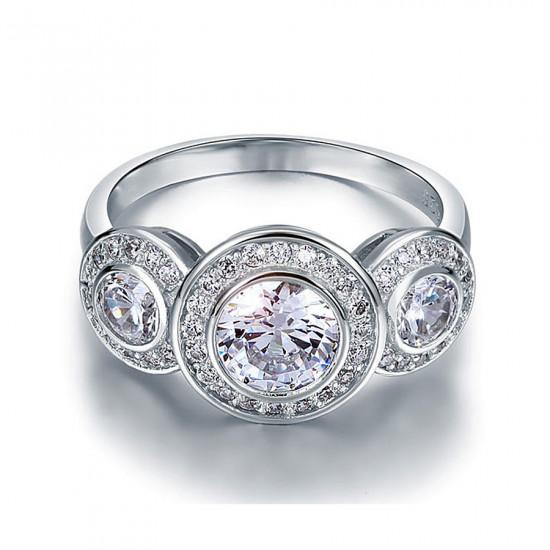 Art Deco Three Stone Engagement Ring
