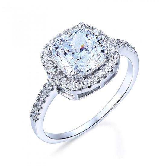 Cushion Halo Engagement Ring