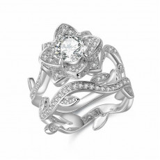 Art Deco Flower Ring Set
