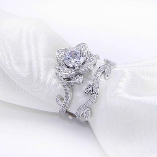 Art Deco Flower Ring Set